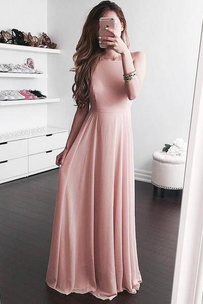 2018 A-line Scoop Spaghetti Straps Long Chiffon Prom Dress Backless Evening Gown